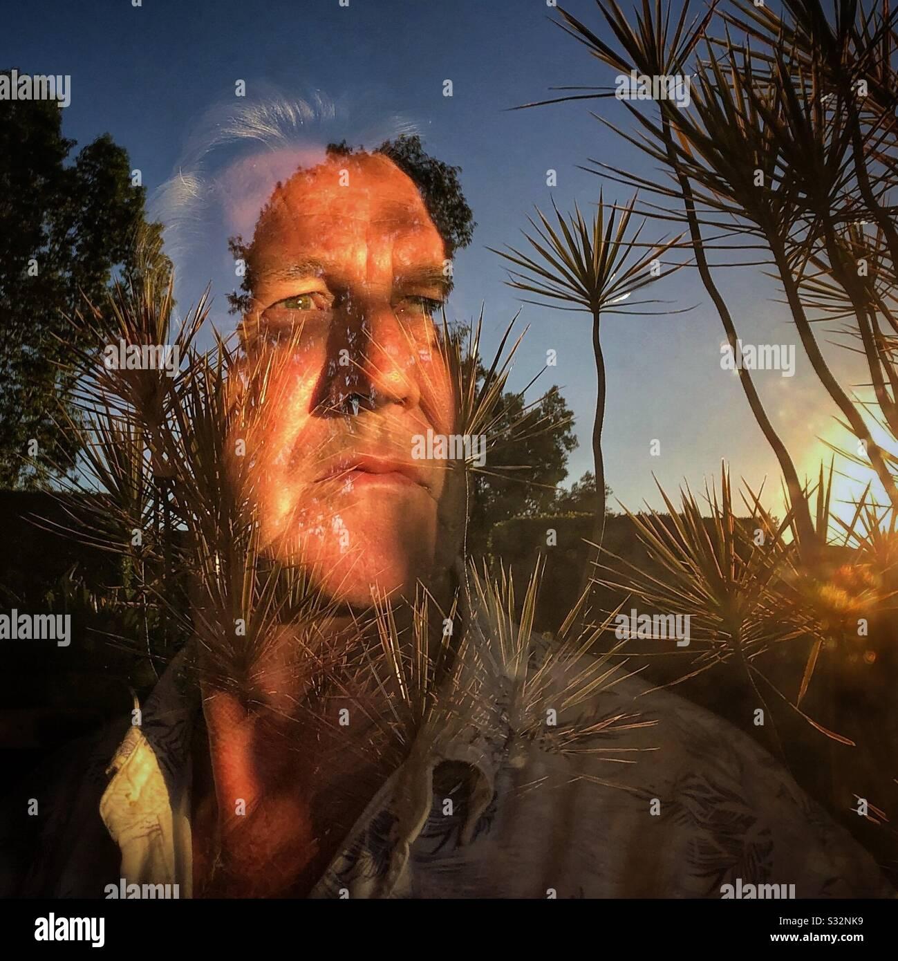Reflejo de Man a través del aislamiento automático de la ventana Coronavirus Foto de stock