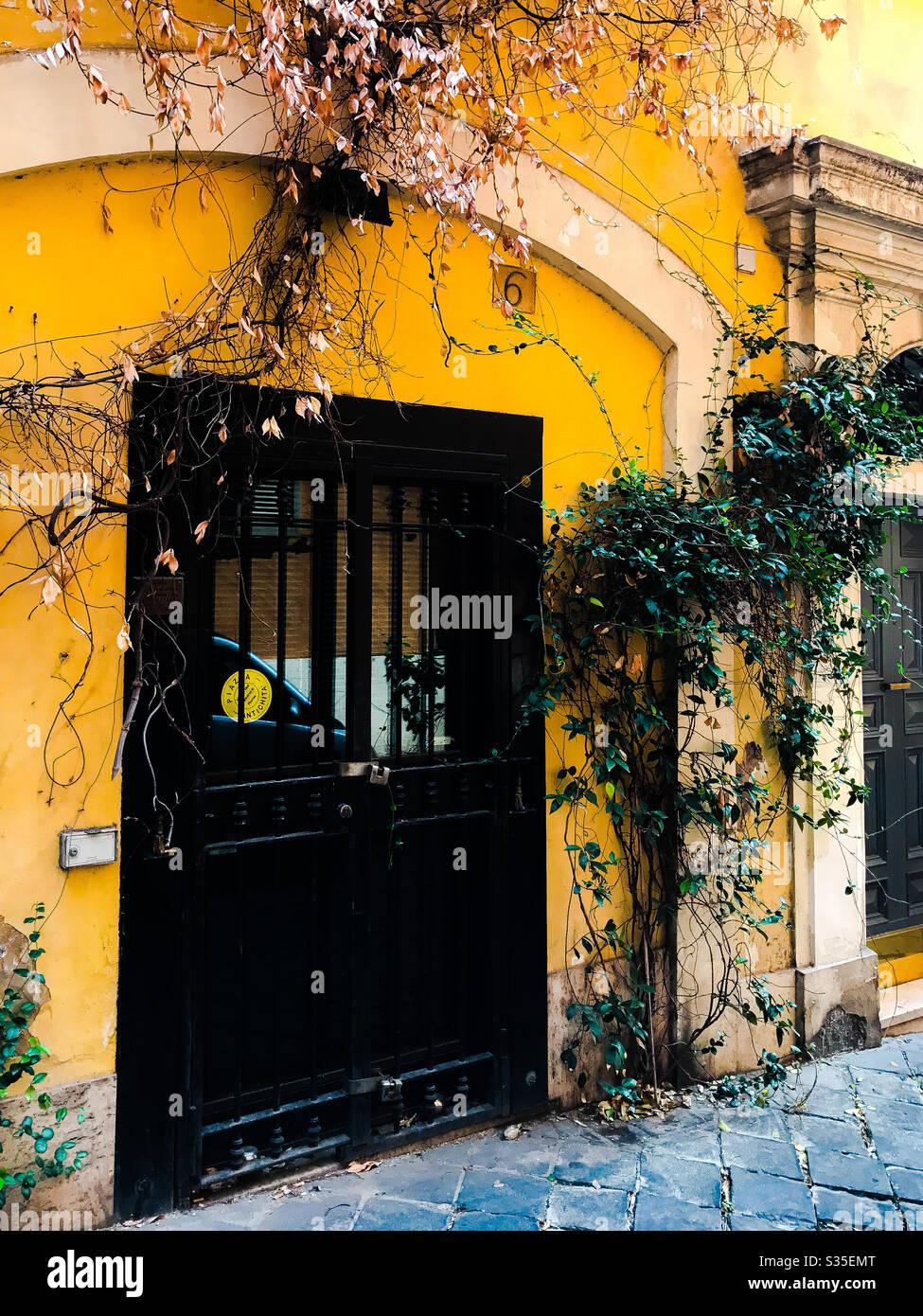 Puerta adornada, Roma Foto de stock