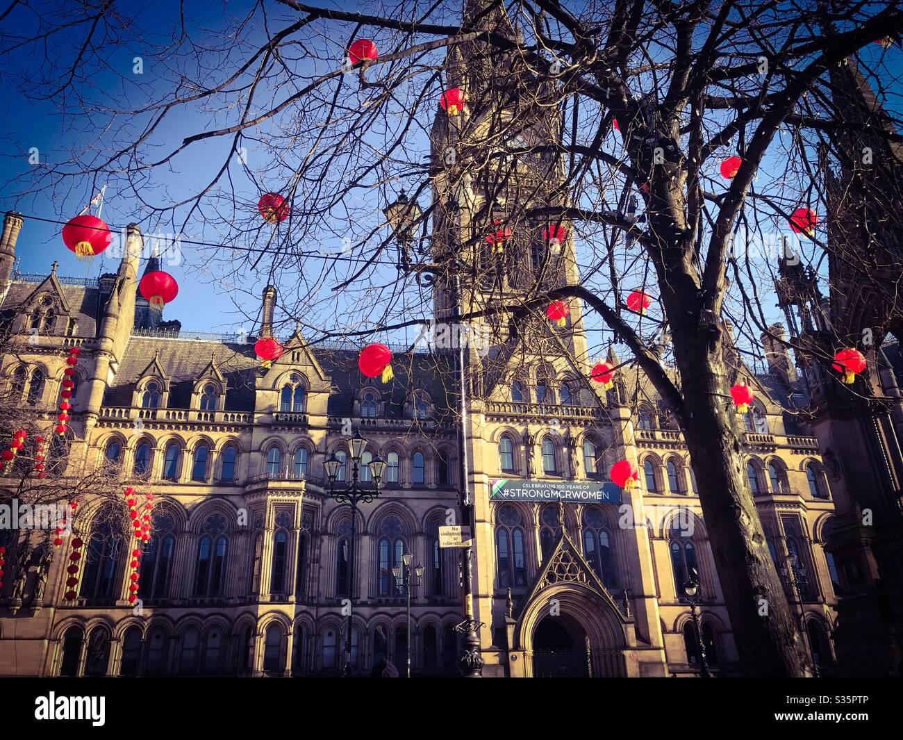 Ayuntamiento de Manchester en año Nuevo Chino Foto de stock