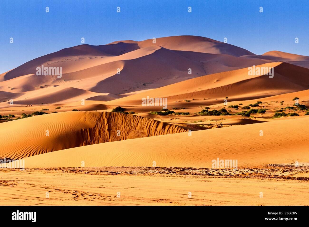 Dunas del desierto del Sahara Merzouga Marocco Foto de stock