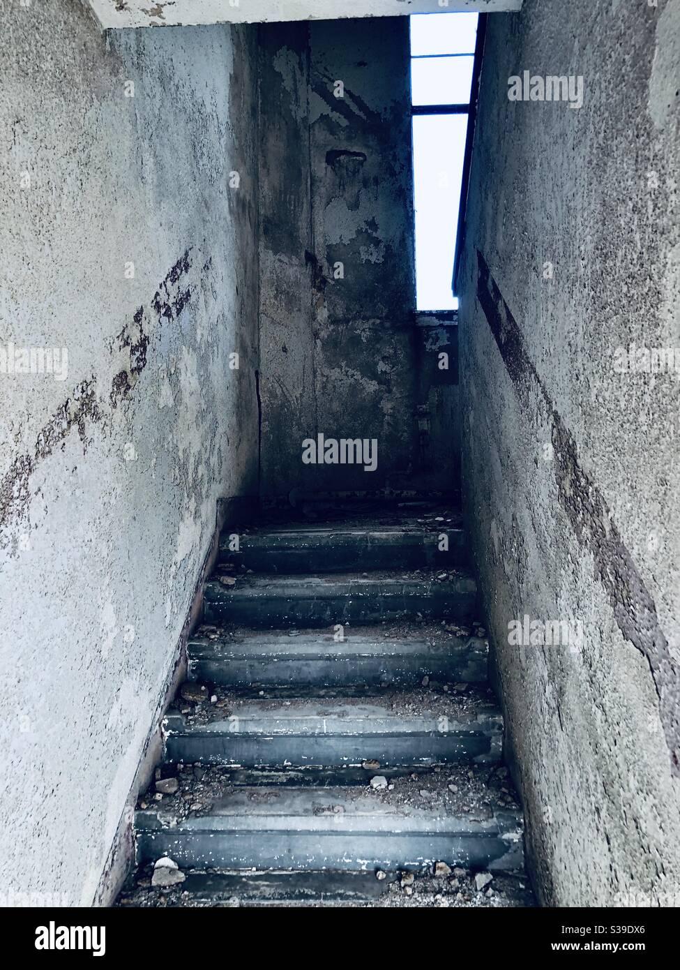 La escalera daba miedo Foto de stock