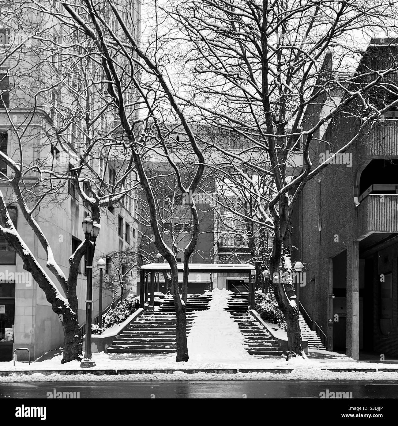 En la ciudad de invierno Foto de stock