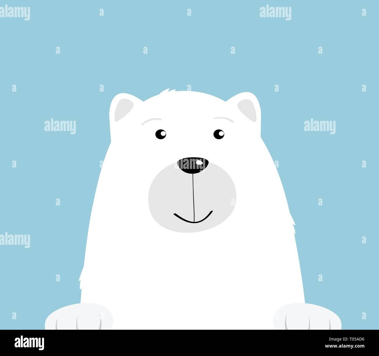 Cute Dibujos Animados Oso Polar Blanco Sobre Fondo Azul