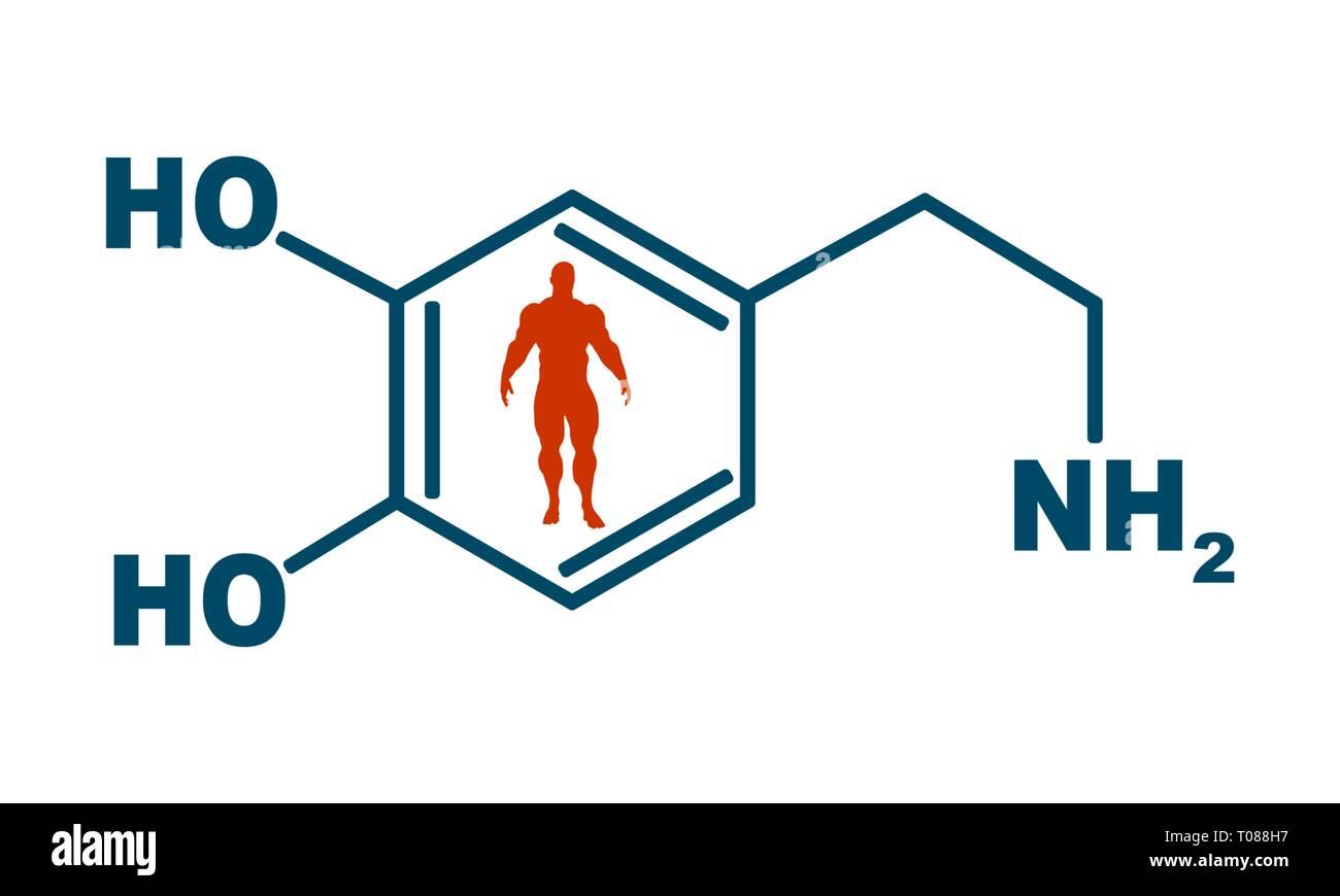Fórmula hormona dopamina. Imagen De Stock