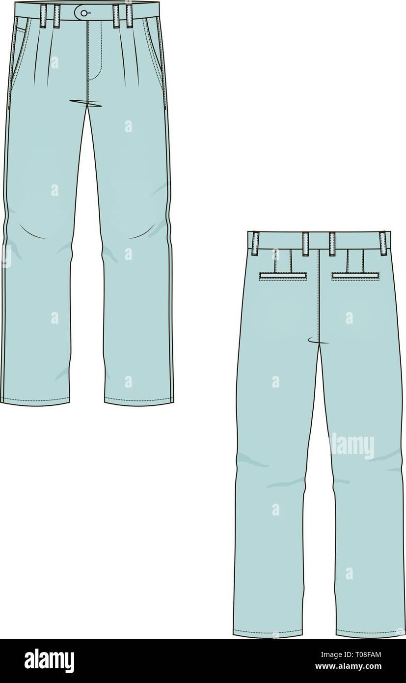 f909b1b93b Dibujo técnico boceto pantalones ilustración vectorial Imagen De Stock