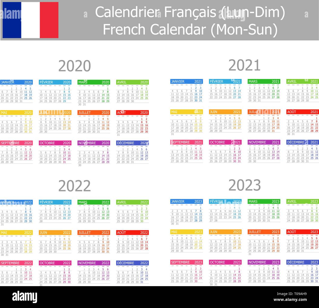 Calendario Frances.Tipo Frances 2020 2023 1 Lun Dom Calendario Sobre Fondo