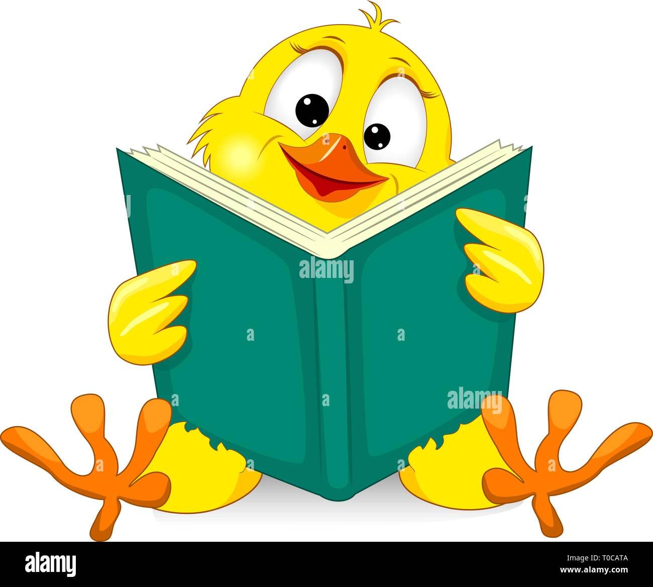 Poco Amarillo Pollo Con Un Libro Pollito De Dibujos