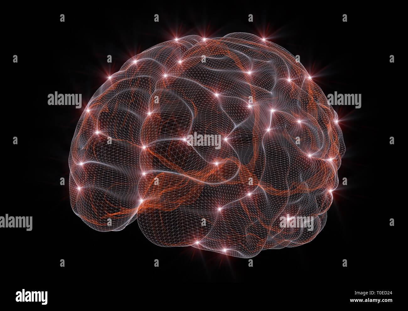 Representación 3D de una imagen conceptual que representan las redes neuronales en inteligencia artificial Imagen De Stock
