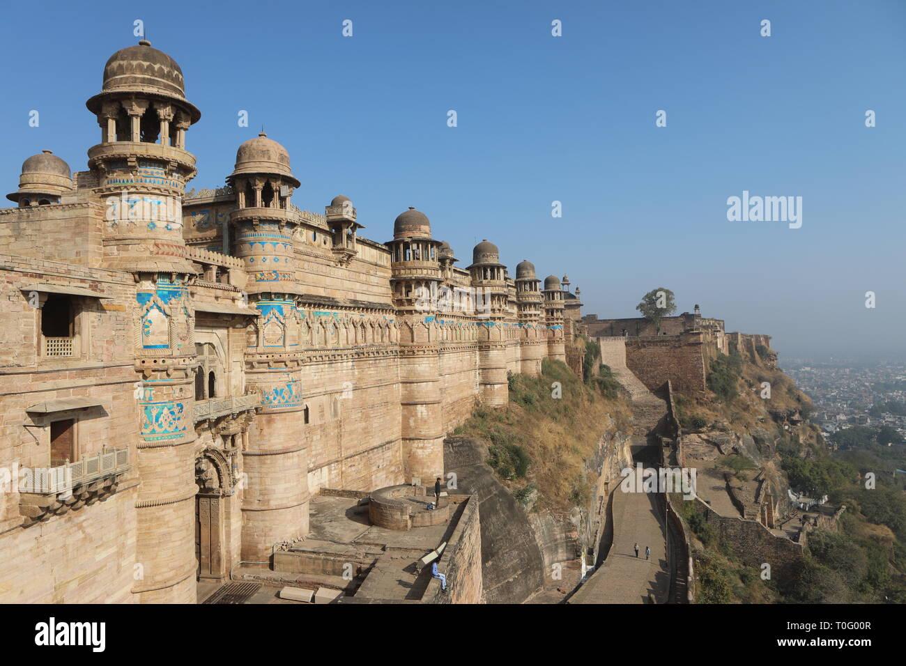 Man Singh Palace - Gwalior Fort - Gwalior, Madhya Pradesh, India del norte Foto de stock