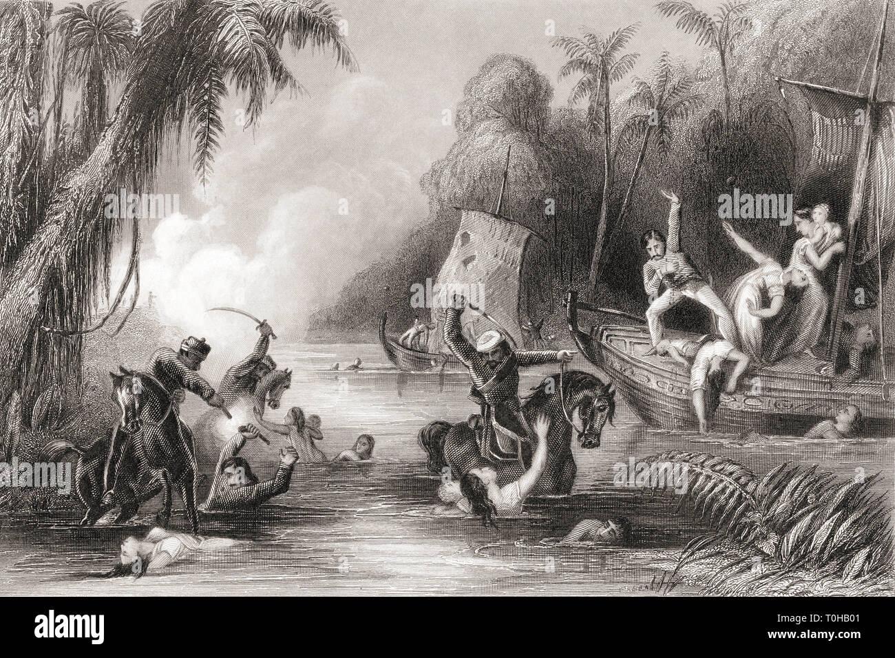 Masacre en los barcos de Cawnpore, India, Asia, 1857 Foto de stock