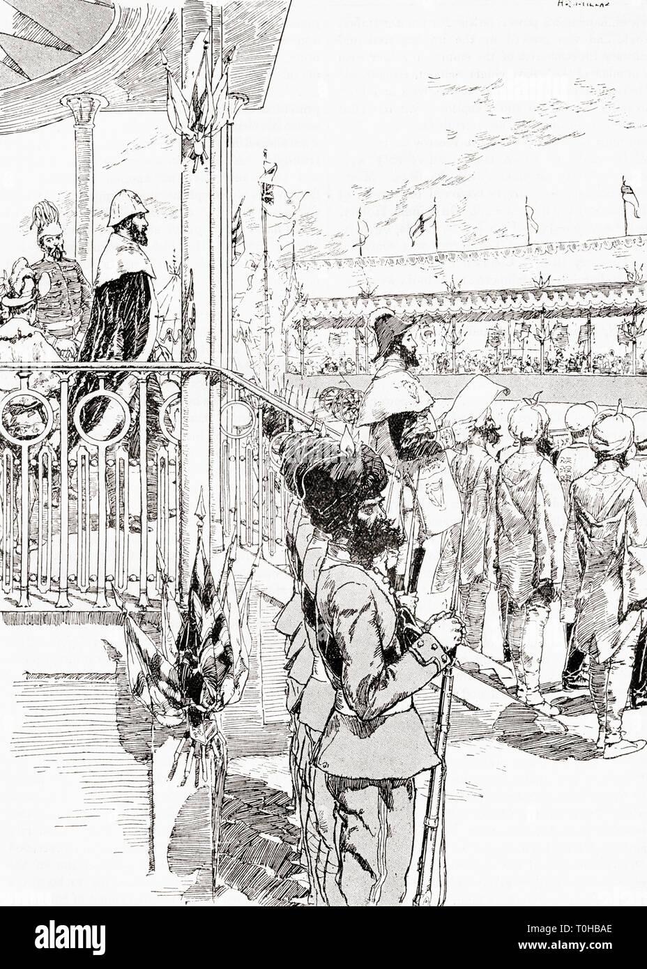 El virrey de la India, Robert Bulwer Lytton, Delhi, 1877 Foto de stock