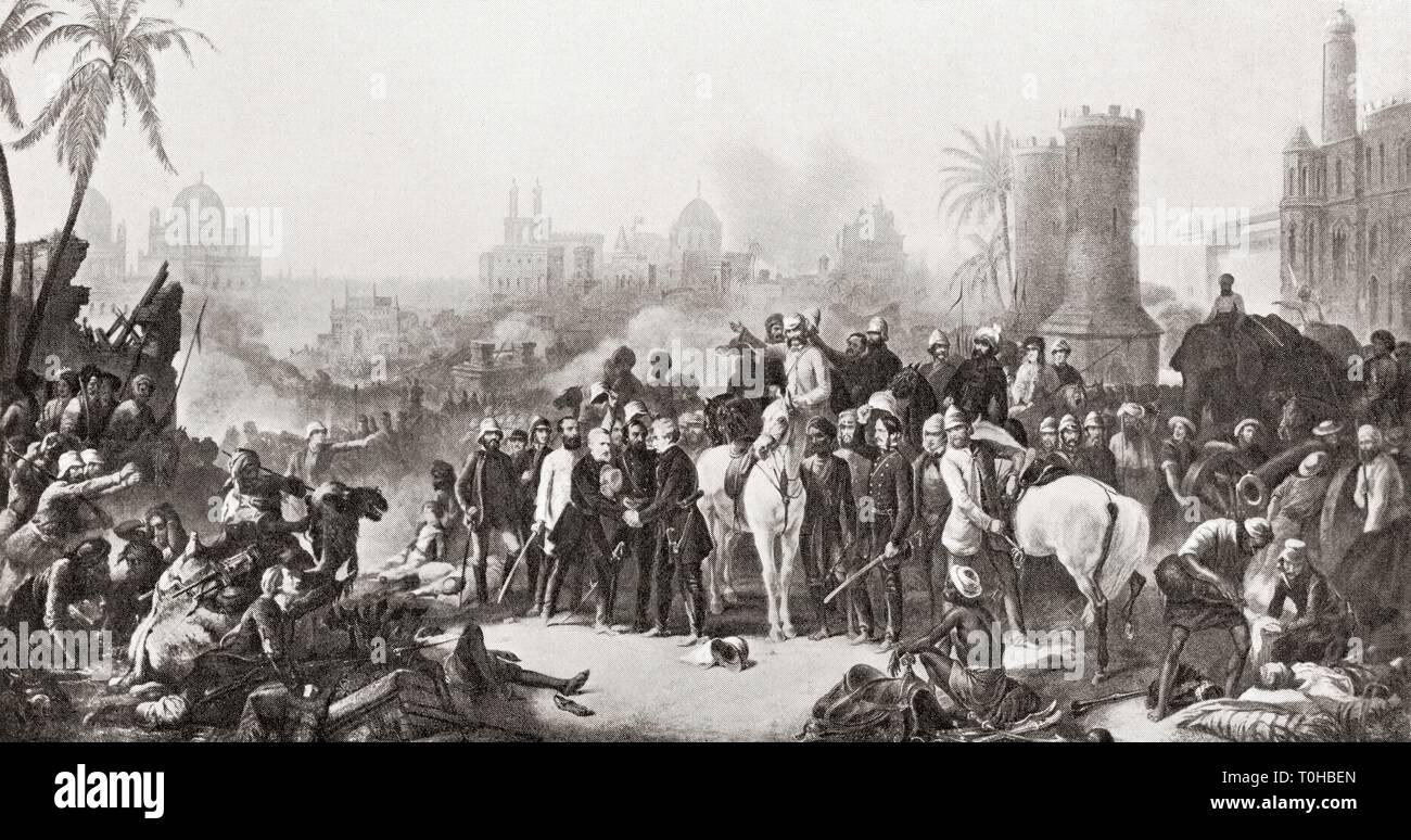 Reunión de Sir Colin Campbell con Havelock y Outram en Lucknow, 1857 Foto de stock