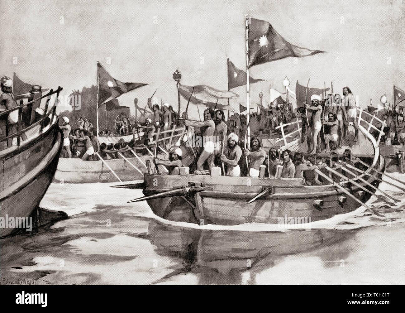 Mahmud de Ghazni atacando jat en el río Chenab, en el norte de la India Foto de stock