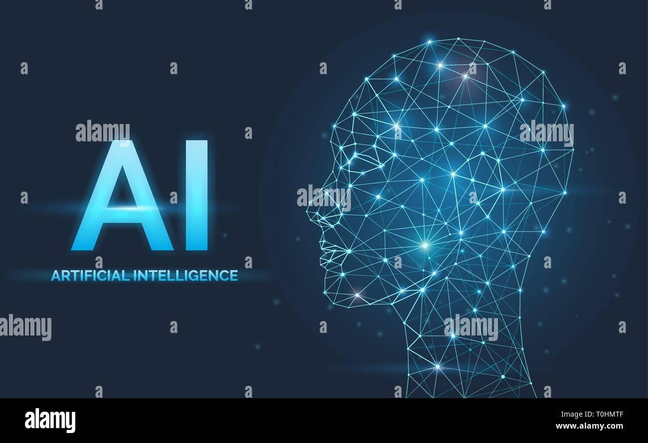 AI Inteligencia artificial, el concepto, las redes neuronales, cara silueta Imagen De Stock