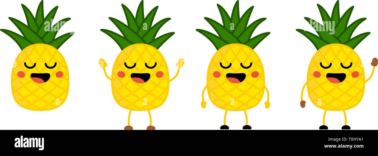 Lindo estilo kawaii piña fruta icono, los ojos cerrados, sonriendo con la boca abierta. Versión con manos levantadas, y agitar. Ilustración del Vector