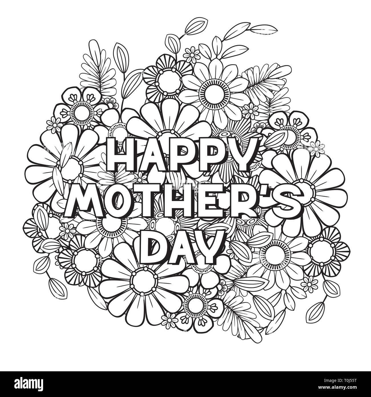 Feliz Día De La Madre Página Para Colorear El Libro De Colorear De