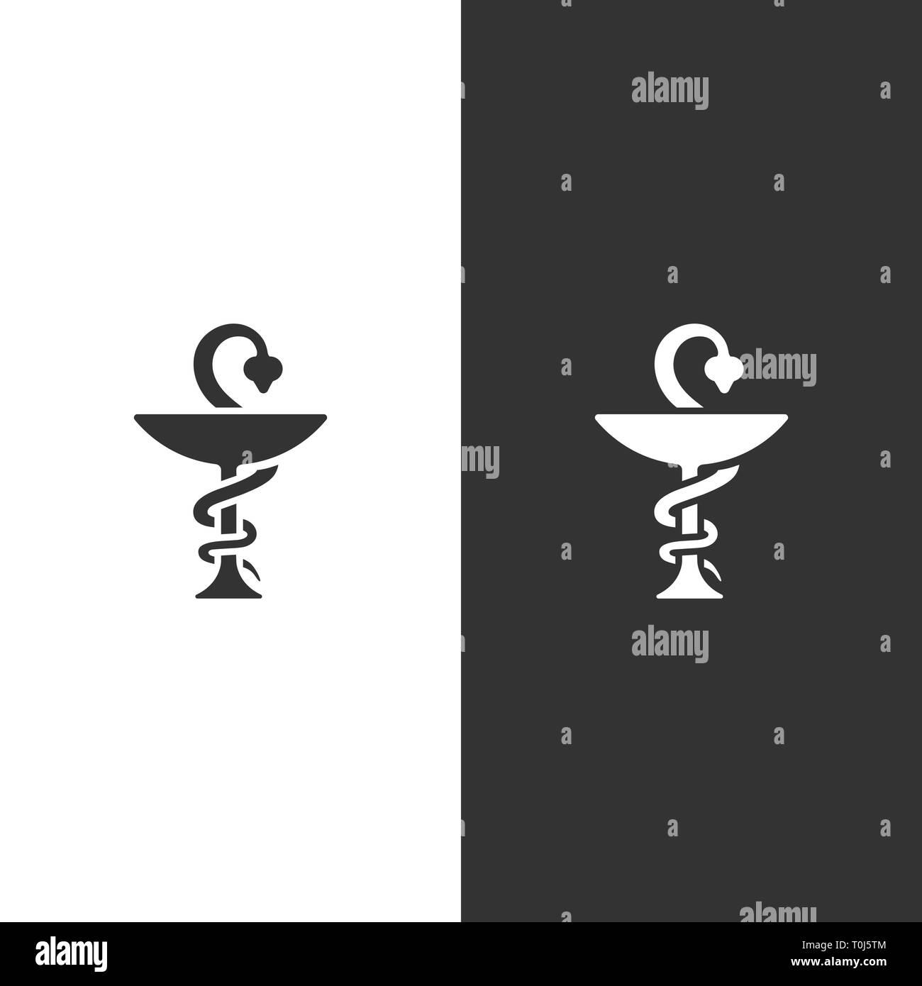 Icono de farmacia en negro y fondo blanco. Símbolo de serpiente. Ilustración vectorial Imagen De Stock