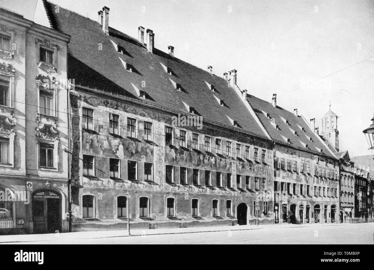 Geografía / viajes, Alemania, Augsburg, la construcción, la Casa Fugger, Vista exterior, impresión tras fotografiar por Fritz Hoefle, circa 1905, Additional-Rights-Clearance-Info-Not-Available Foto de stock