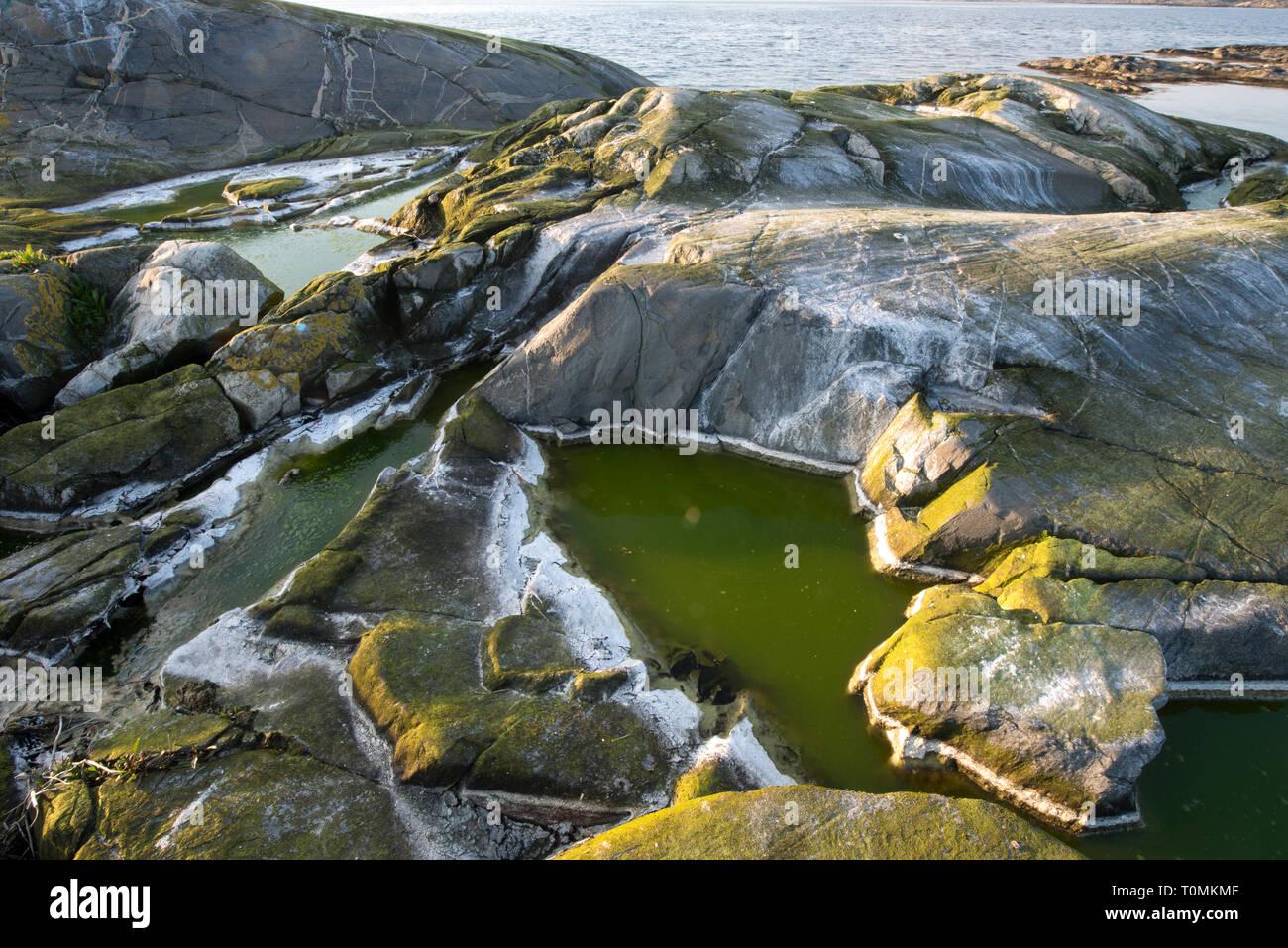 Suecia - rocas, piedras naturales, sustancias sólidas, agregados, minerales, s mineraloids, cuarzo, feldespato, Imagen De Stock