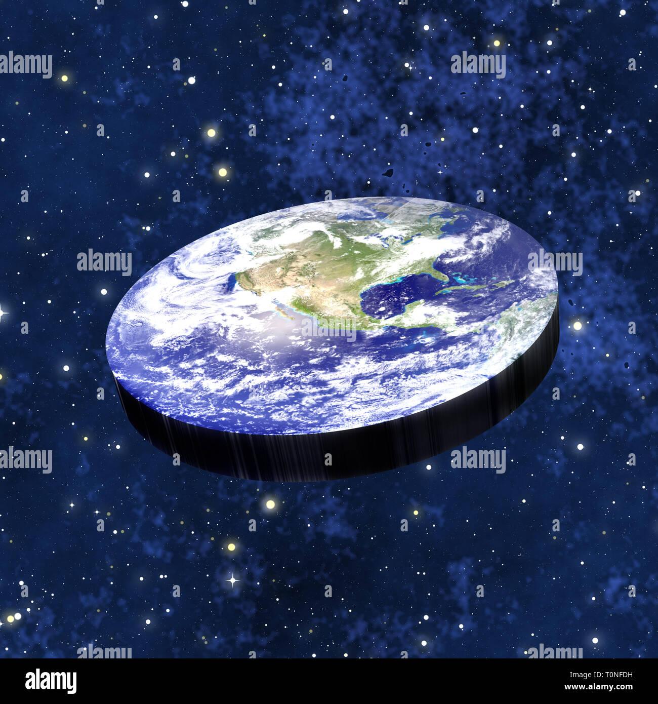 Concepto de la teoría de la tierra plana Imagen De Stock
