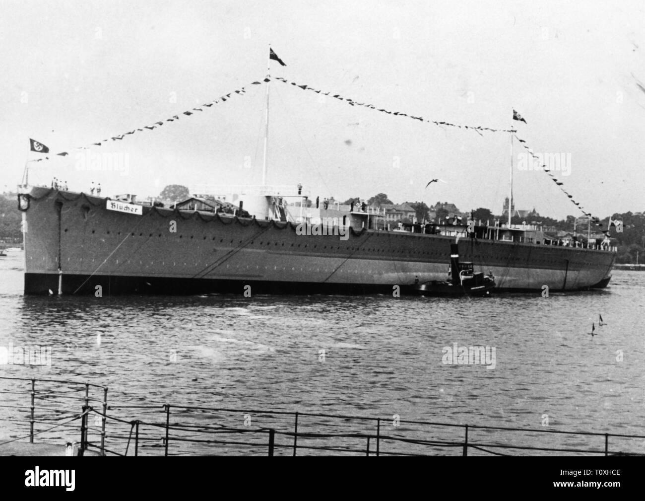 Transporte / Transporte, Navegación, buques de guerra, GER, HEAVY CRUISER 'Bluecher', construida en Deutsche Werke de Kiel, lanzamiento, 8.6.1937-Clearance-Info Additional-Rights-Not-Available Foto de stock