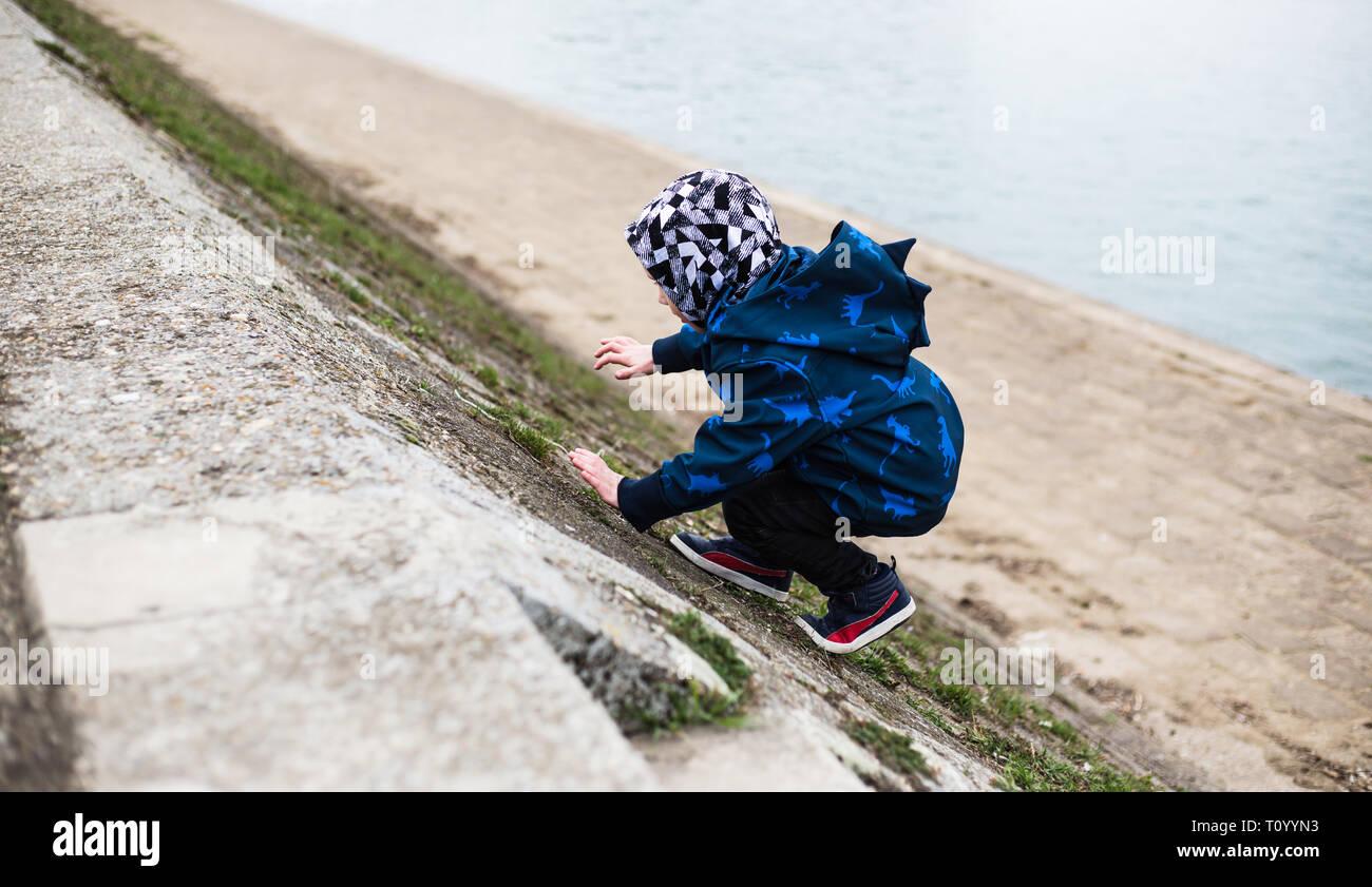 Joven escalada junto al río Danubio Foto de stock