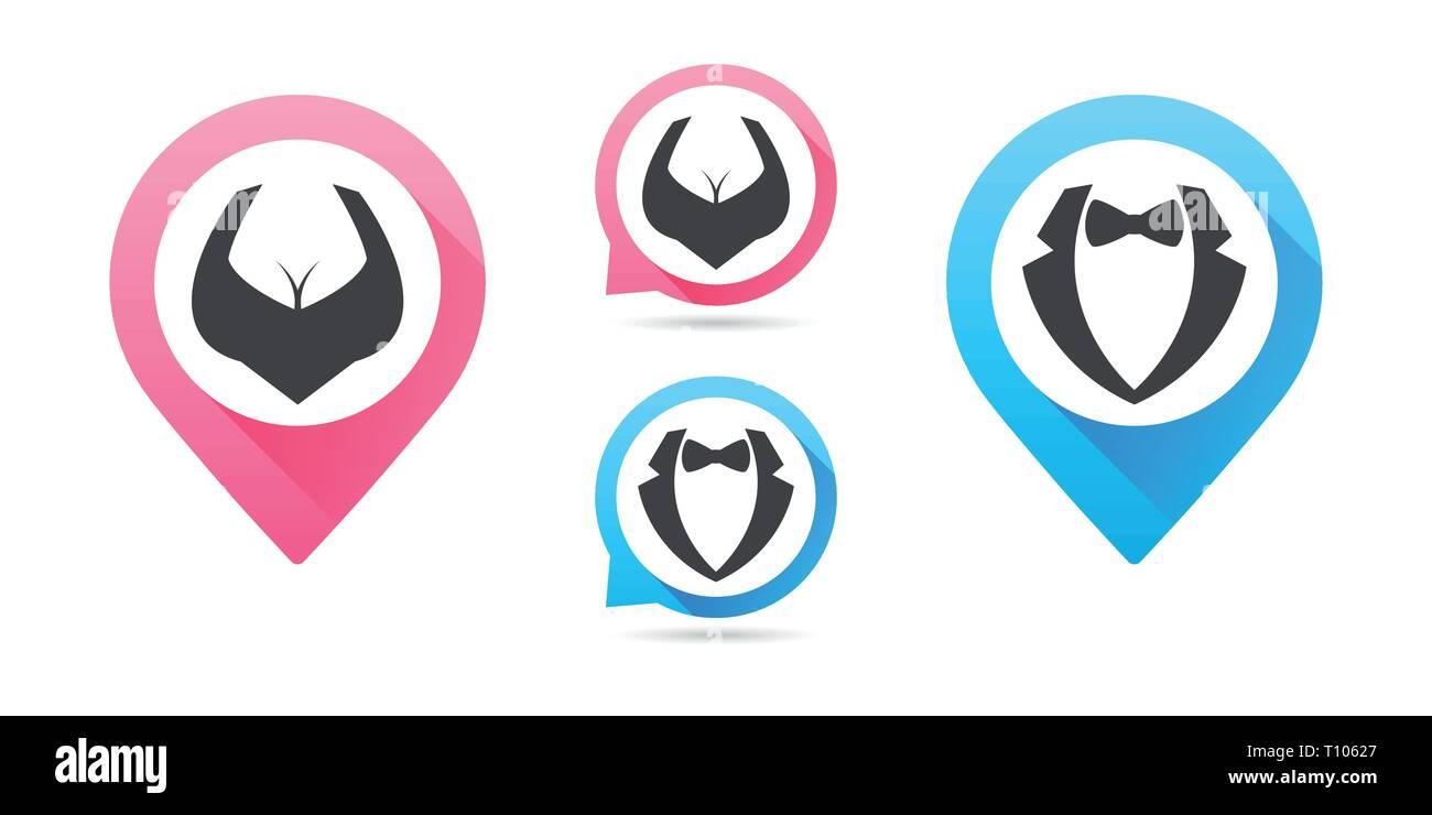 El hombre y la mujer, vector icono diseño plano aislado símbolo. Mapa punteros. Vector conjunto de iconos masculinos y femeninos. Elemento de diseño infográfico Imagen De Stock