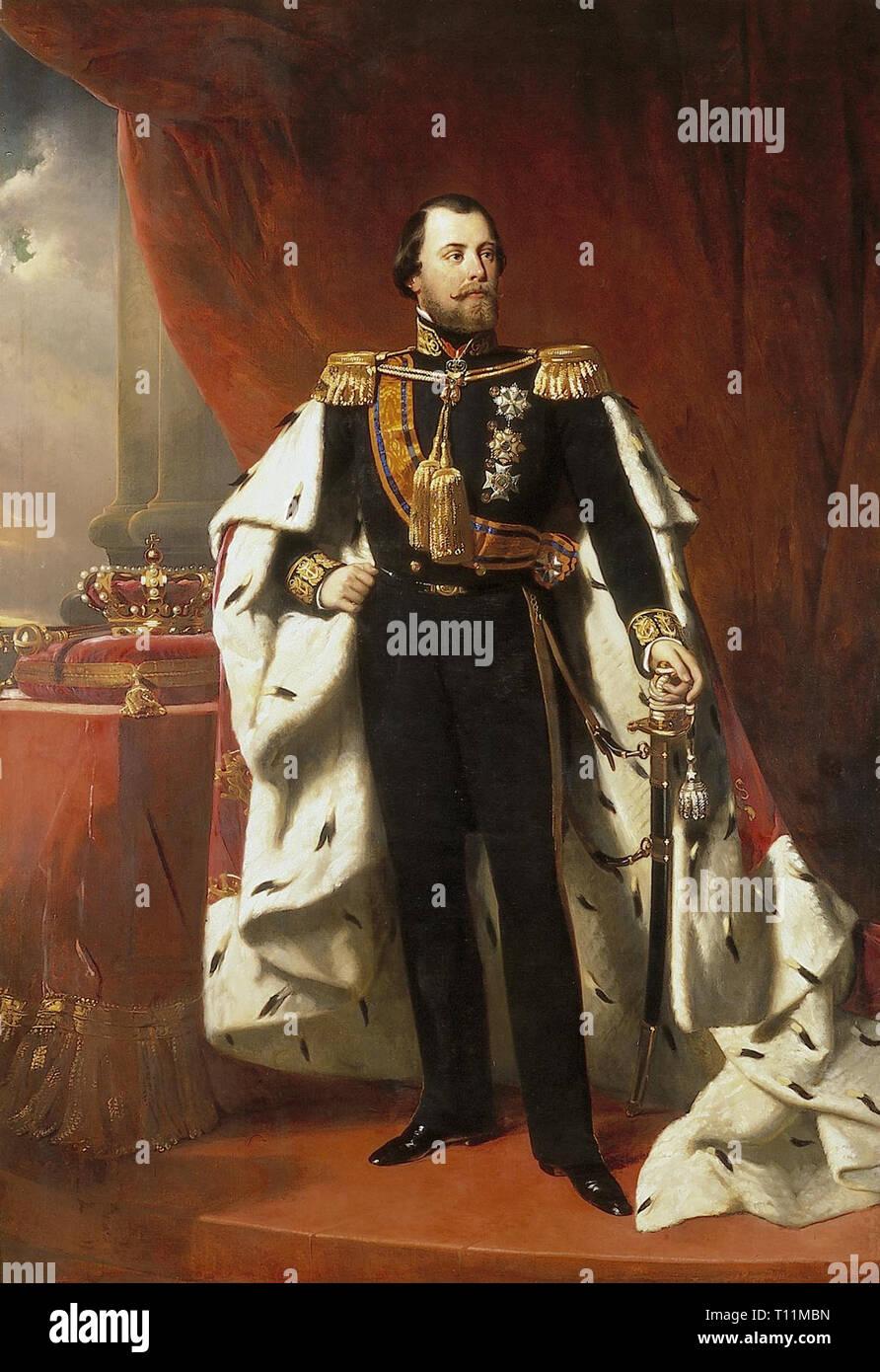 Retrato del Rey Guillermo III de los Países Bajos, Nicolaas Pieneman (1856) Imagen De Stock