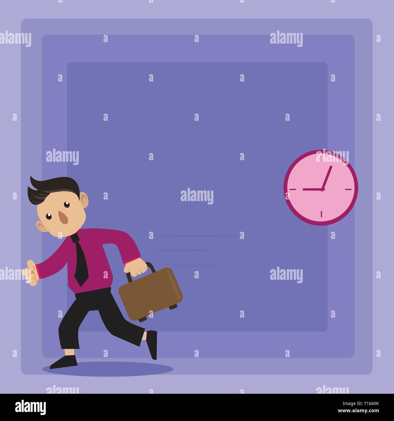a86838ff27e0 Maletín de transporte de amarre en el hombre caminando en una prisa pasado  el Reloj de