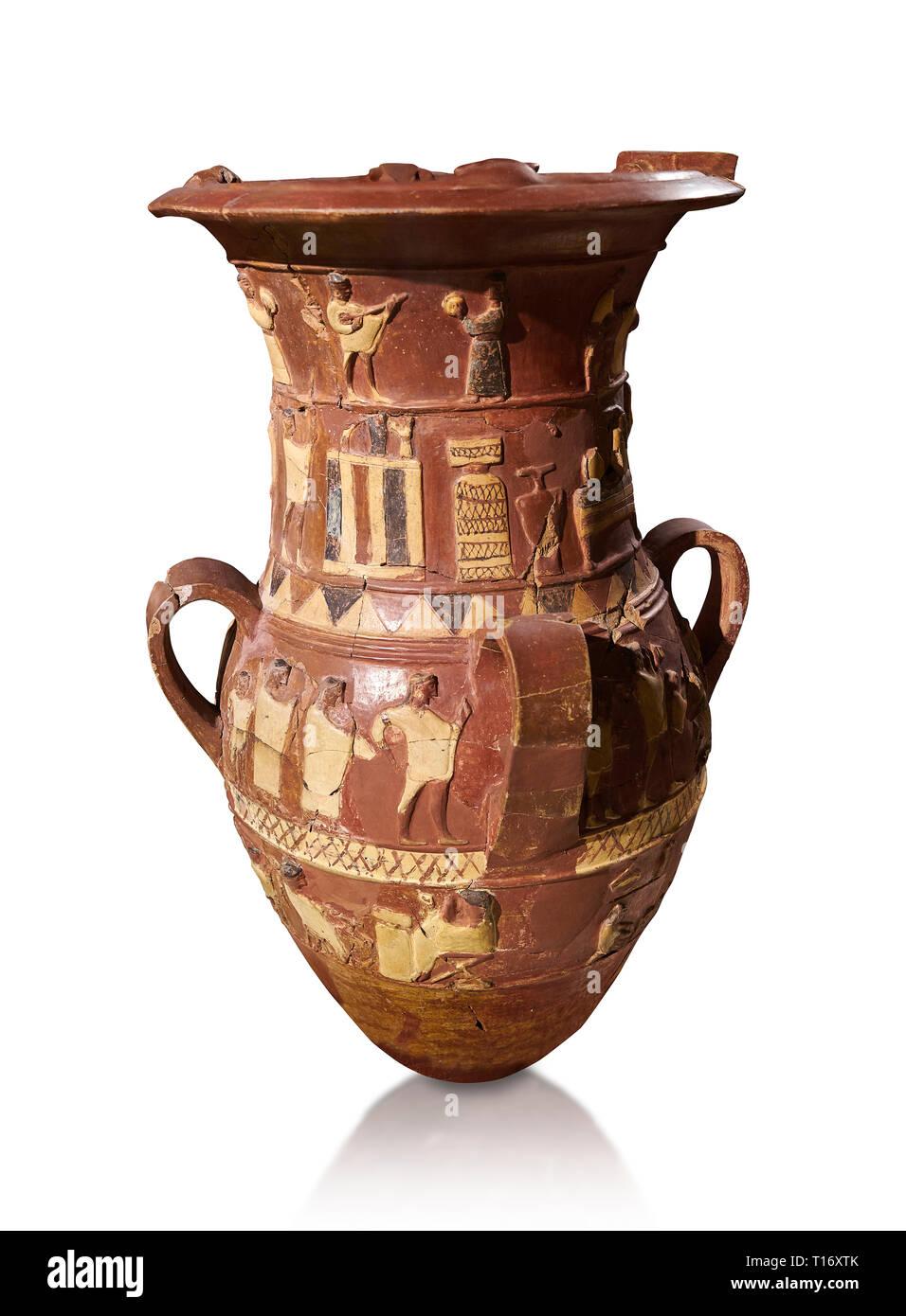 Socorro hitita Inandik decorado libación culto jarrón con cuatro frisos con figuras decorativas en forma de crema, de color rojo y negro. El procesional Foto de stock