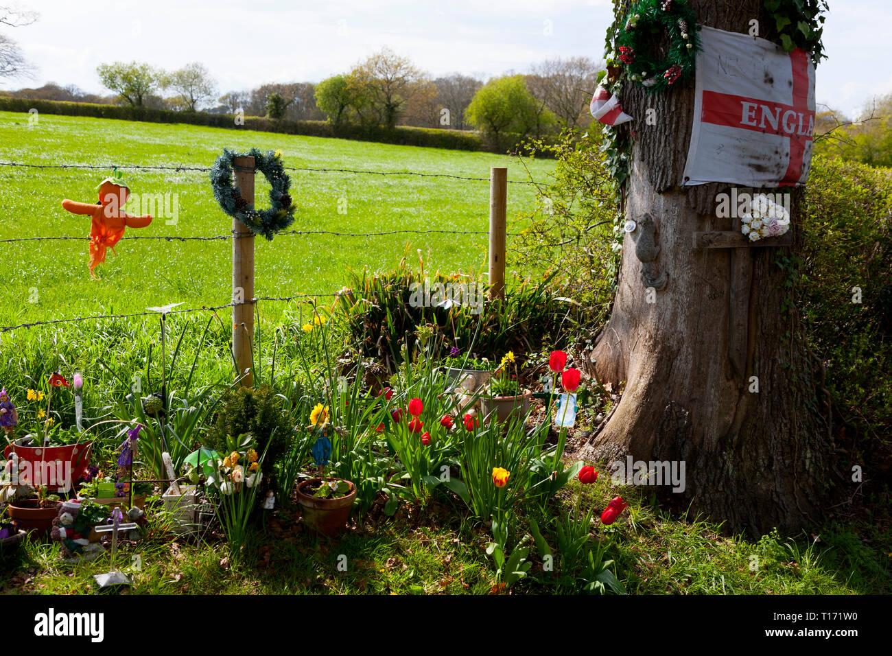 Santuario,memorial,a,carretera,accidentes,víctima,víctimas,Inglaterra, Imagen De Stock