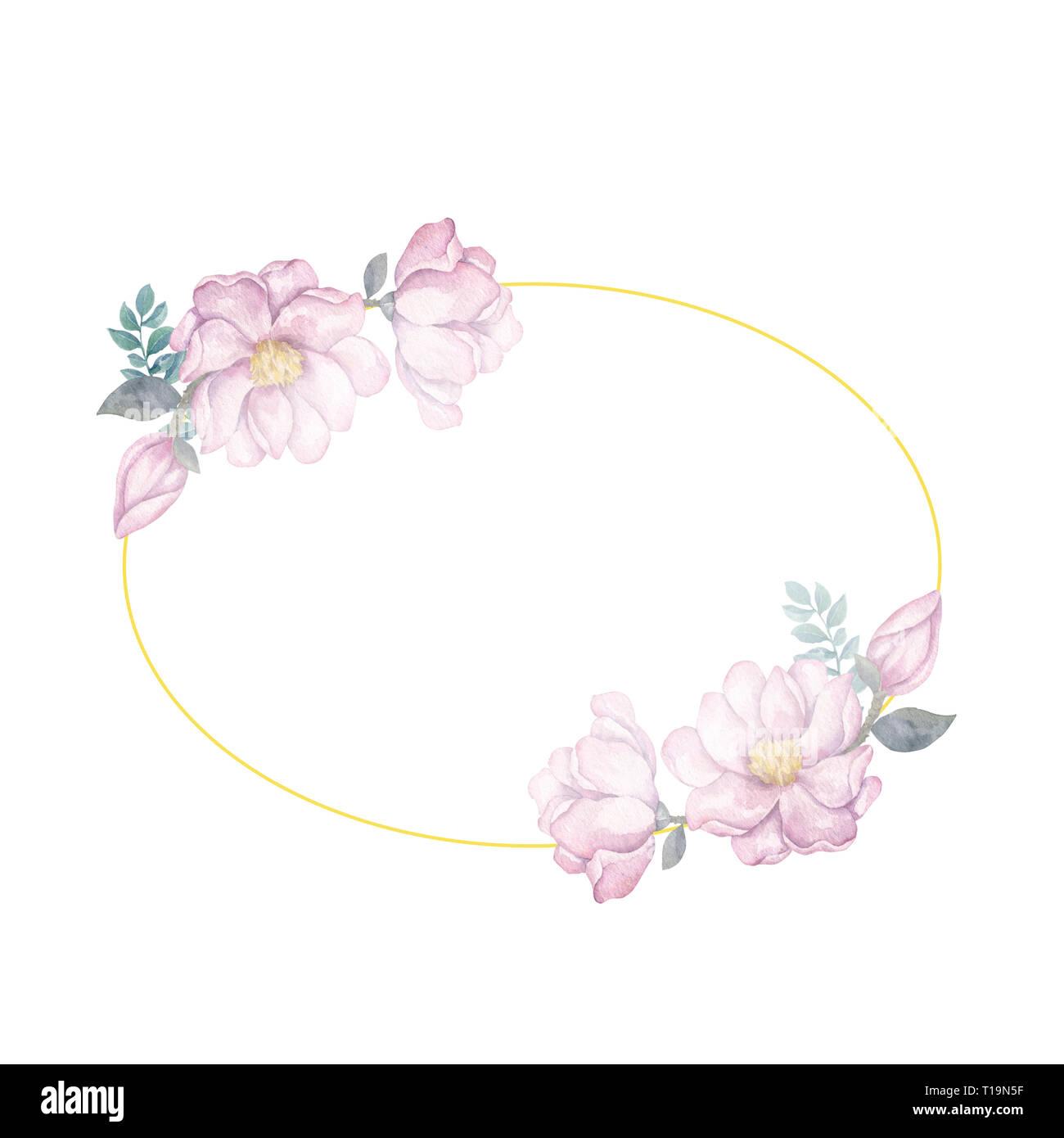 Acuarela Guirnalda De Flores Y Hojas Marco Dorado