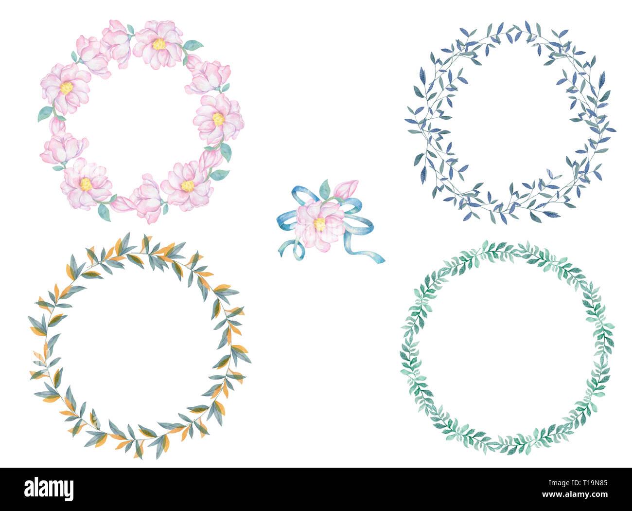 Conjunto De Corona De Flores Y Hojas De Acuarela Marco