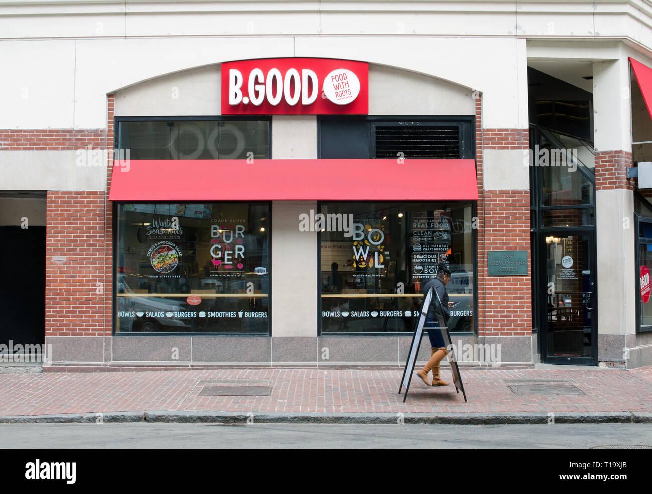 B.Buen restaurante exterior en Devonshire Street en Downtown Crossing Boston, Massachusetts, EE.UU. Imagen De Stock