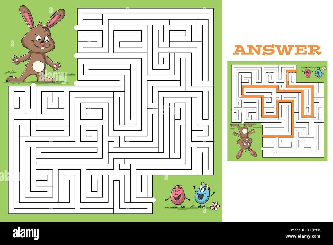 Dibujos animados juego puzzle de pascua con la solución. Ilustración vectorial con capas separadas. Ilustración del Vector