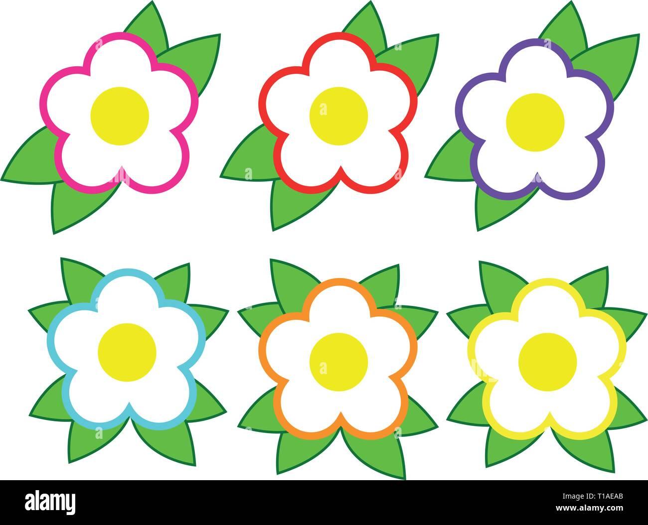 iconos de flores Ilustración del Vector