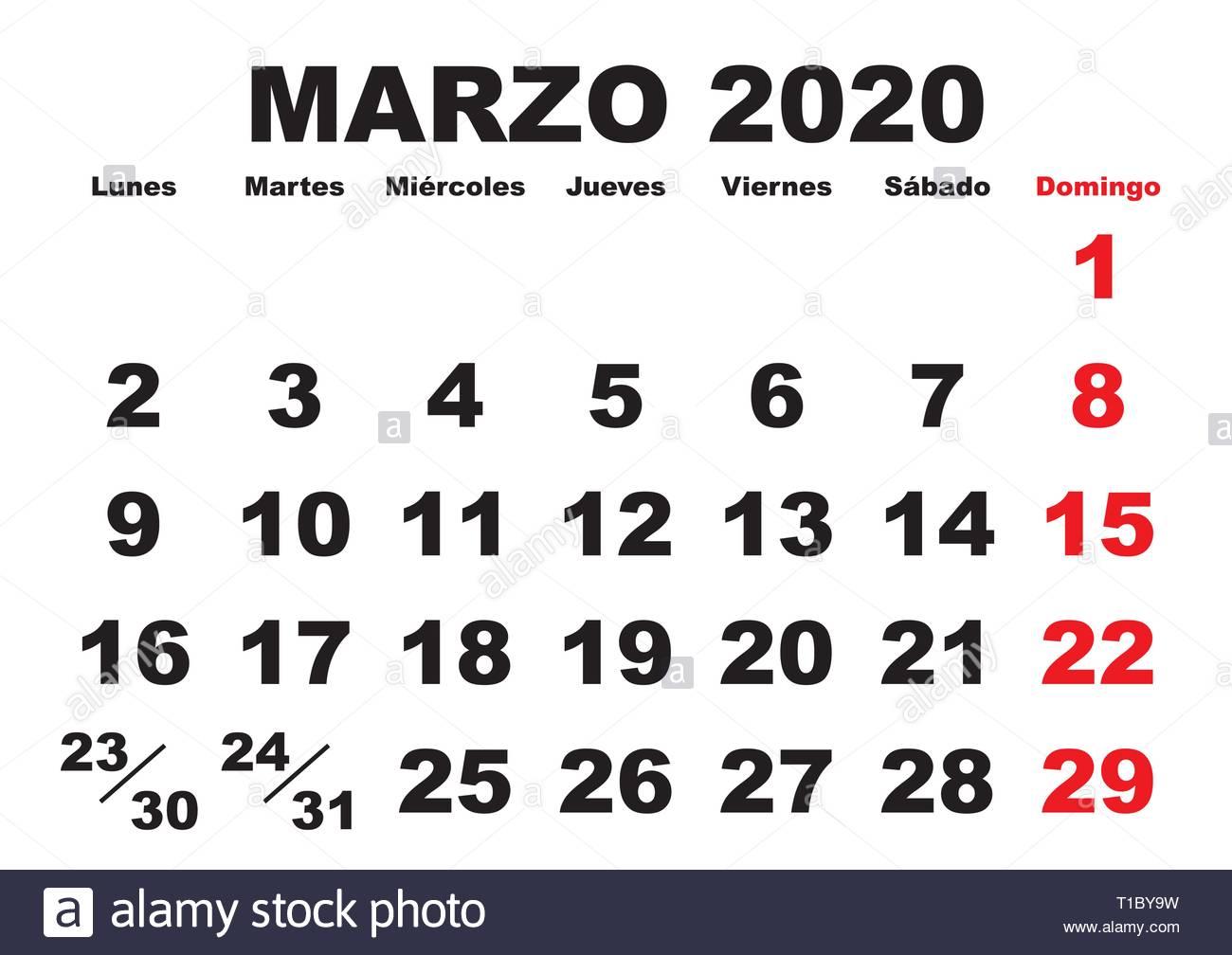 Ano 2020 Calendario.En El Mes De Marzo Del Ano 2020 Calendario De Pared En