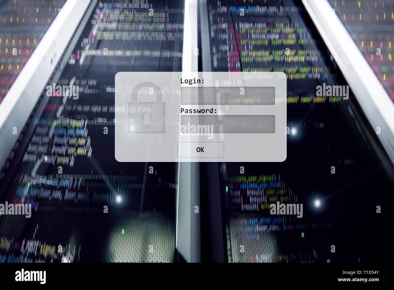 Sala de servidores, petición de inicio de sesión y contraseña, acceso y seguridad de los datos. Foto de stock