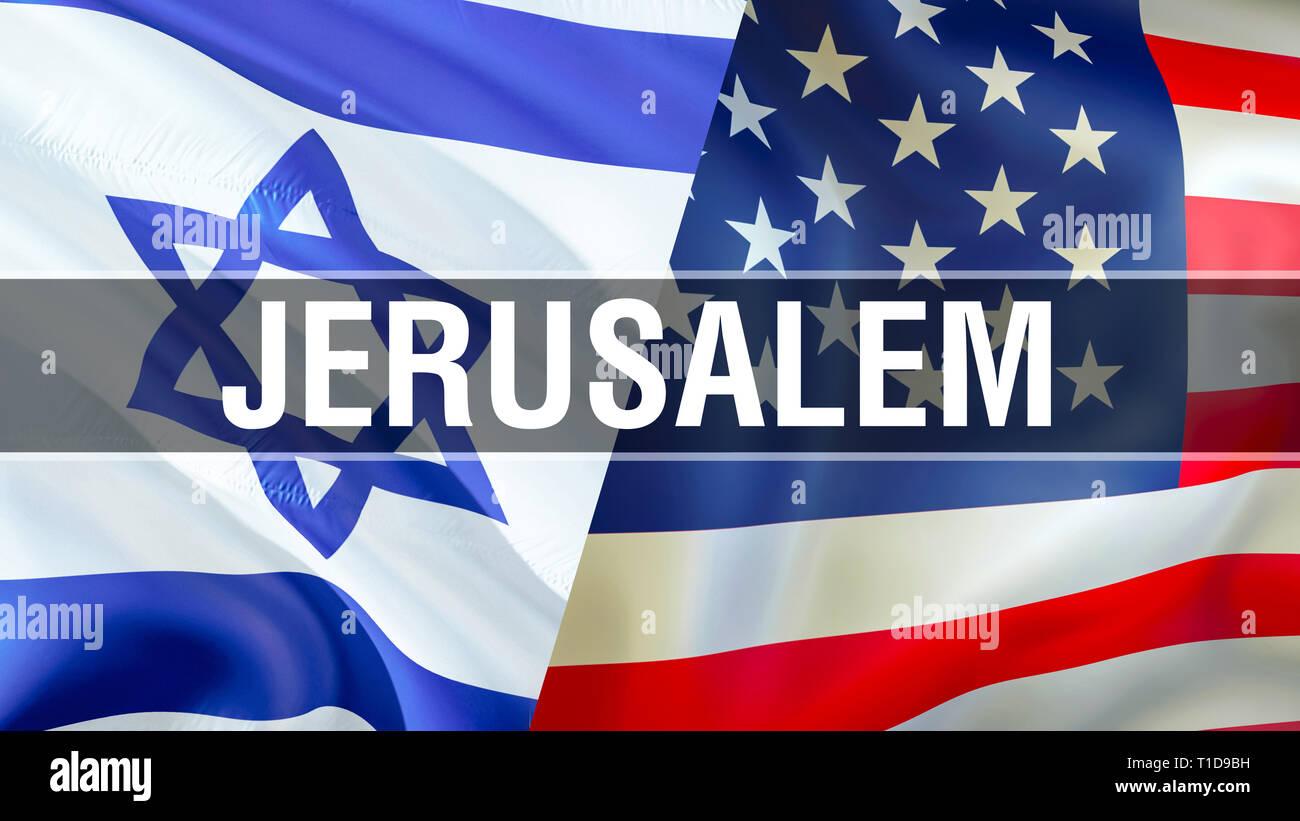 Jerusalen En Ee Uu E Israel Banderas 3d Rendering Ondeando La