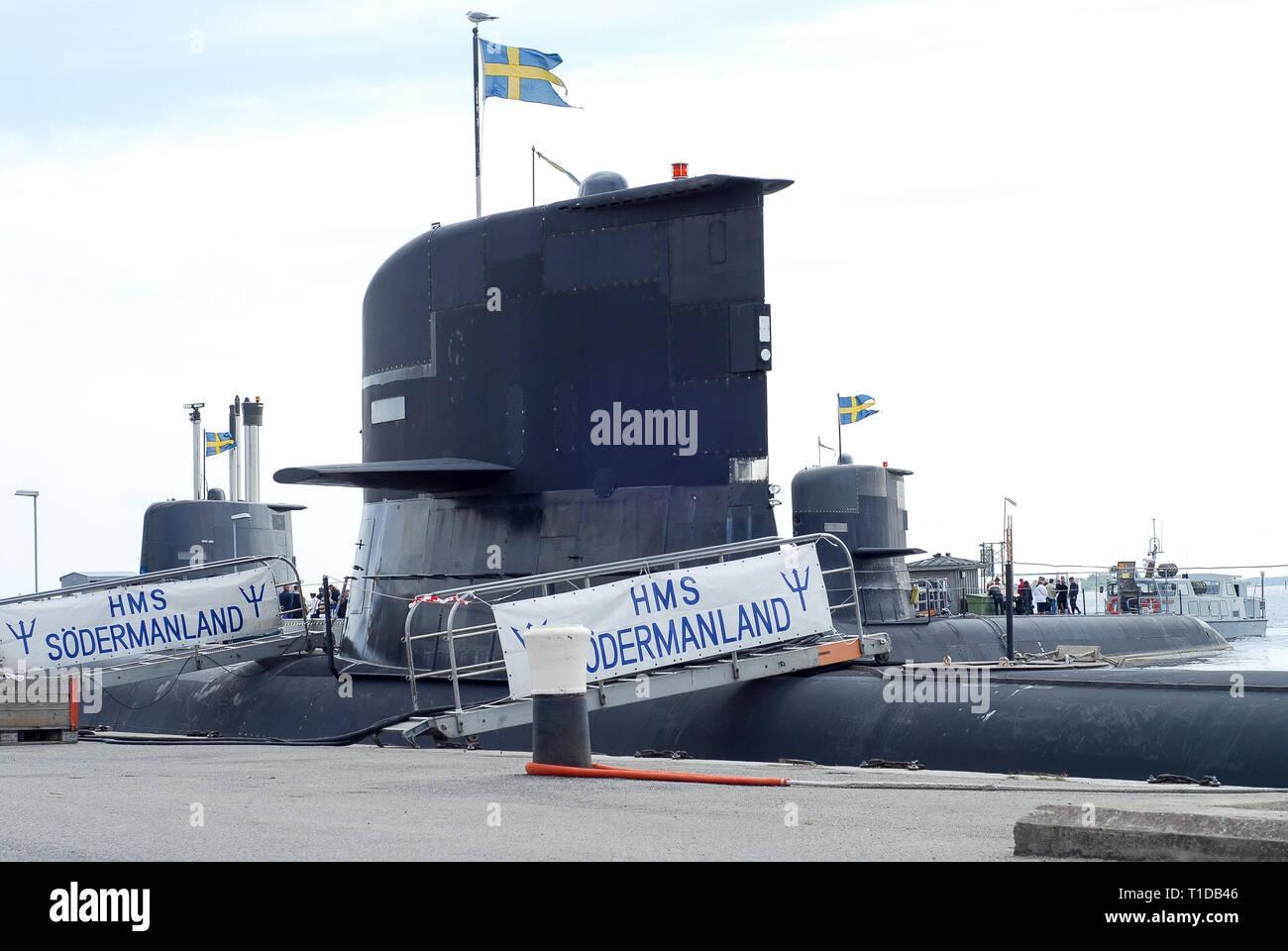 HSwMS clase Södermanland Södermanland, submarino, HSwMS Östergötland, clase Södermanland submarino y Halland HSwMS Hnd, Gotland submarino de clase 1 Foto de stock