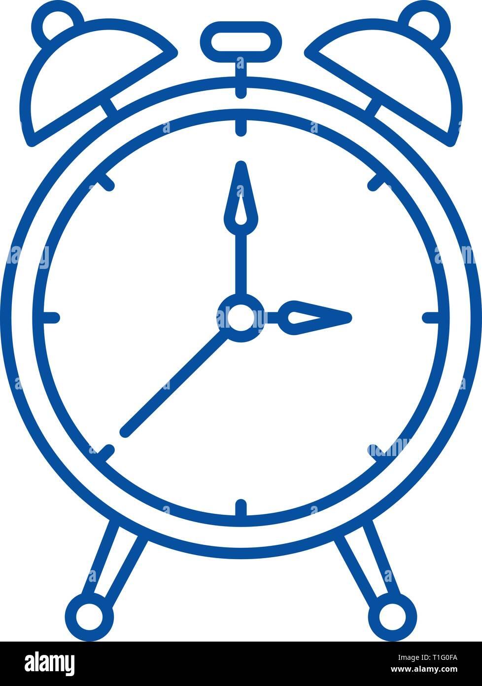 9a9489a8ca1f Icono de línea de reloj alarma concepto. Reloj alarma vector plana símbolo