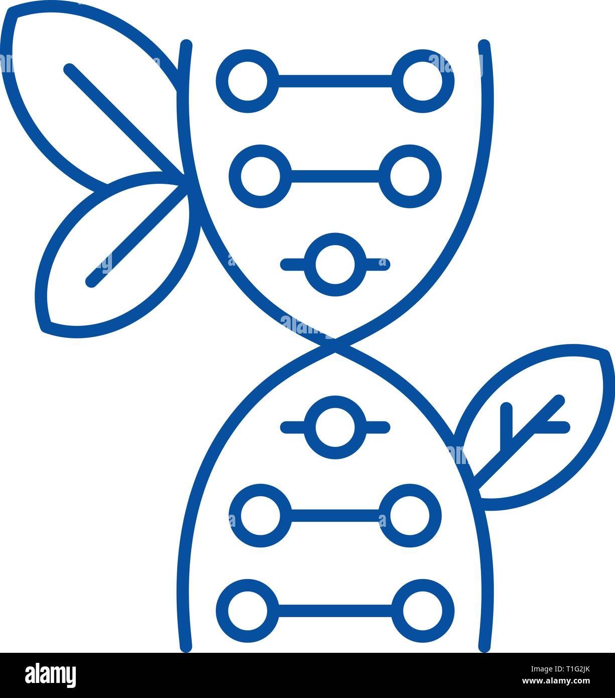 Icono de línea de biología concepto. Biología de Vectores plana símbolo, signo, esbozo de la ilustración. Ilustración del Vector