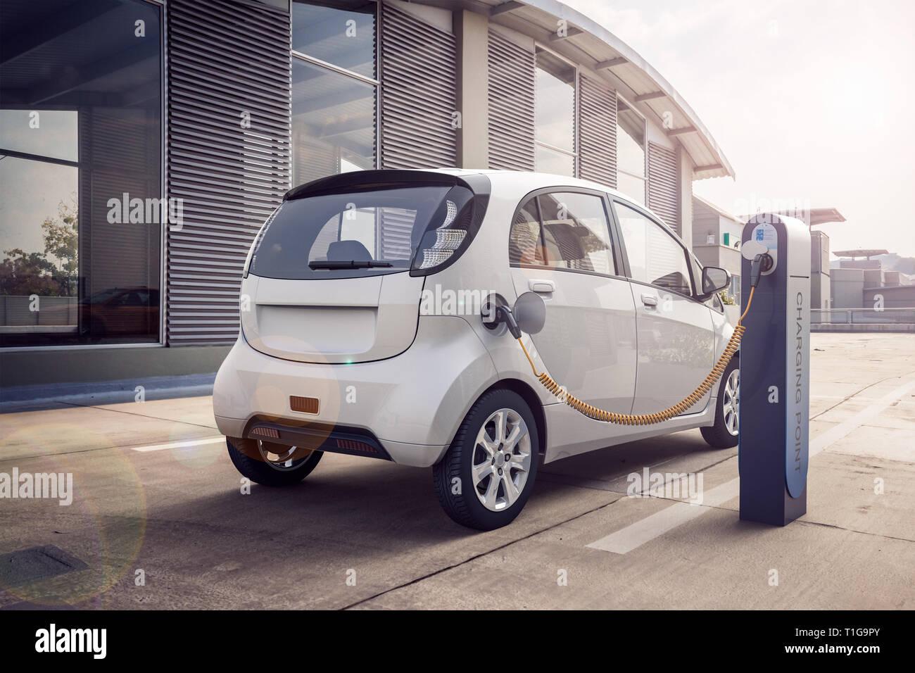 3D rendering de coche eléctrico o el vehículo a la estación de carga carga la batería con el cable o el cargador para espectro ecológico y sostenible de energía Imagen De Stock