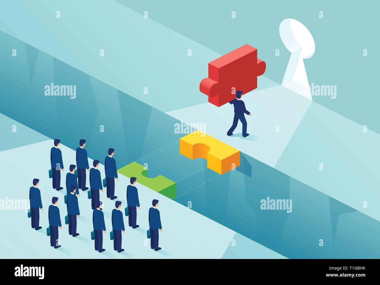 La titularidad de la patente y el concepto de la ventaja competitiva. Vector de un empresario con una pieza del puzzle clave creando obstáculos para sus rivales Ilustración del Vector