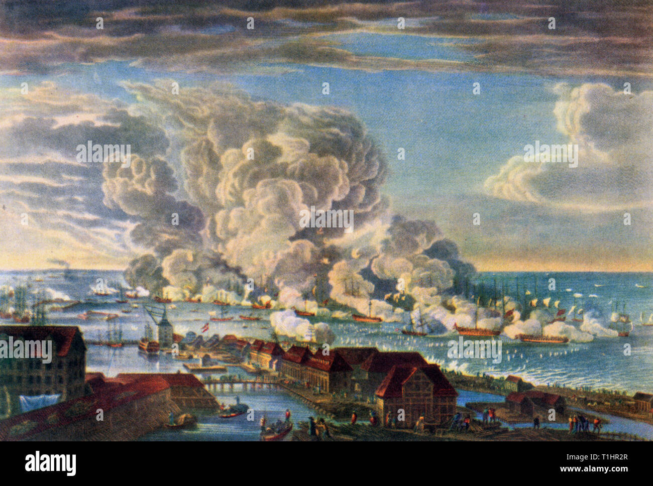 """""""La batalla de Copenhague"""" 2 de abril de 1801. 'LAGET på Reden' (la batalla de Copenhague). Por Johan Frederik Clemens (1749-1831) después de Christian August Lorentzen (1749-1828). Aquí se muestra la batalla dirigida por el almirante Horatio Nelson (1758-1805) que fue parte del ataque inglés a Copenhague durante las guerras napoleónicas. Este grabado fue una impresión contemporánea muy popular y fue una característica en muchos hogares como una muestra de patriotismo. Foto de stock"""