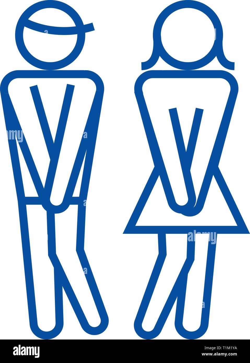 Mujer Hombre WC, WC line icono concepto. Mujer Hombre WC, WC vector plana símbolo, signo, esbozo de la ilustración. Imagen De Stock