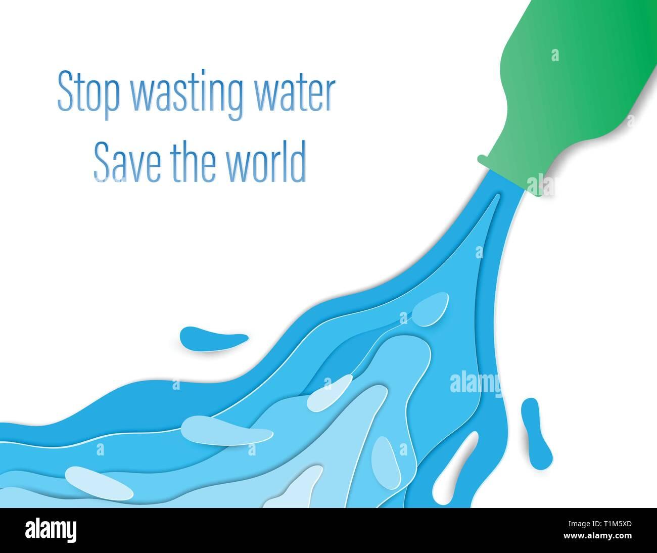 La reducción del consumo de agua derroche concepto. El agua que fluye de las botellas verdes. Y hay una gran cantidad de agua que fluye sobre fondo marrón. Digital Ilustración del Vector