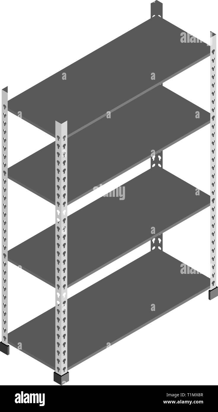 Almacenamiento En Estanterias Metalicas.Rack De Almacenamiento Estanterias Metalicas Vacias En Isometrica