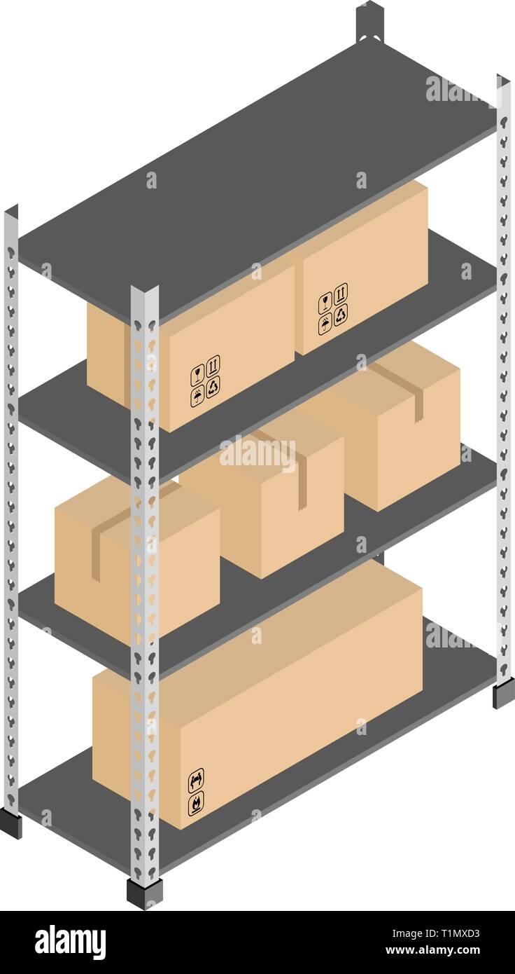 Almacenamiento En Estanterias Metalicas.Almacenamiento Estanterias Metalicas Con Cajas En Isometrica Diseno