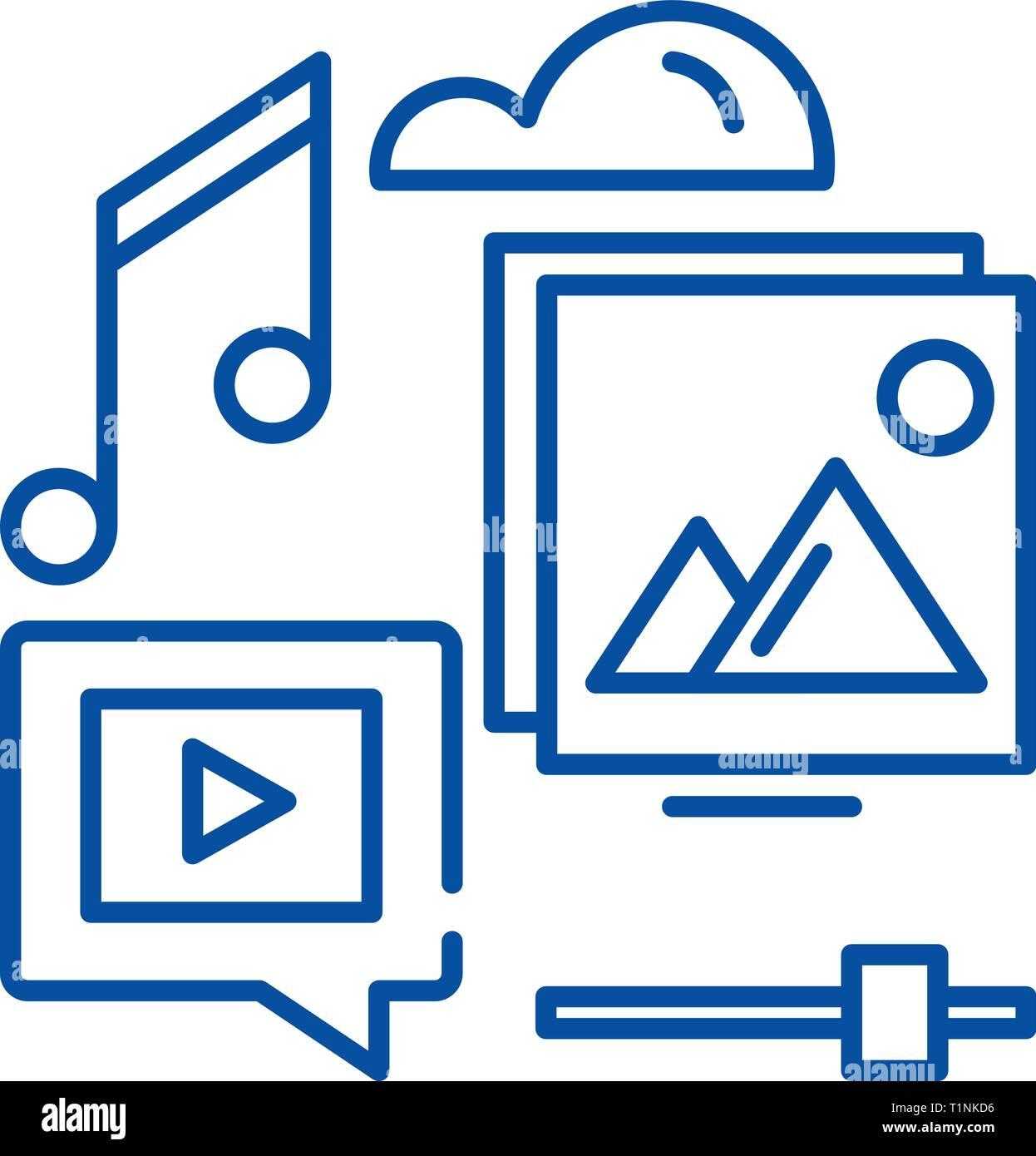Icono de línea de contenido multimedia de concepto. Contenido multimedia vector plana símbolo, signo, esbozo de la ilustración. Imagen De Stock